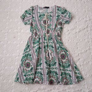 H Elena Small Prarie Eyelet Fit Flare Dress Boho